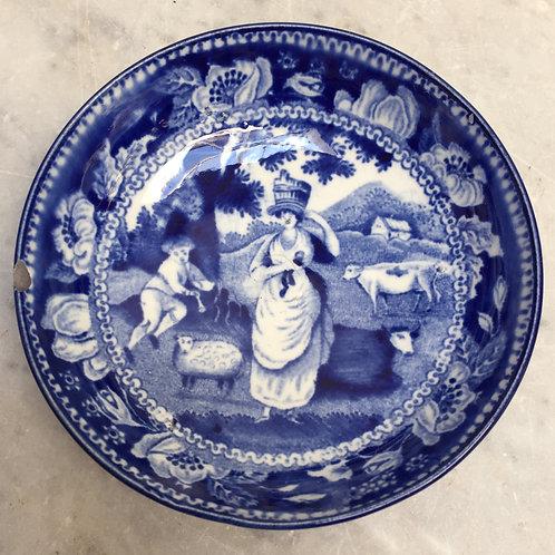 'Milkmaid And Shepherd' 19th C Blue & White Bowl