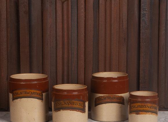 Set of Four Victorian Stoneware Chemist Dry Goods Jars