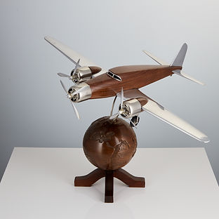 20th Century French Art Deco Model of an Aircraft Mounted on a World Globe, French circa 1930