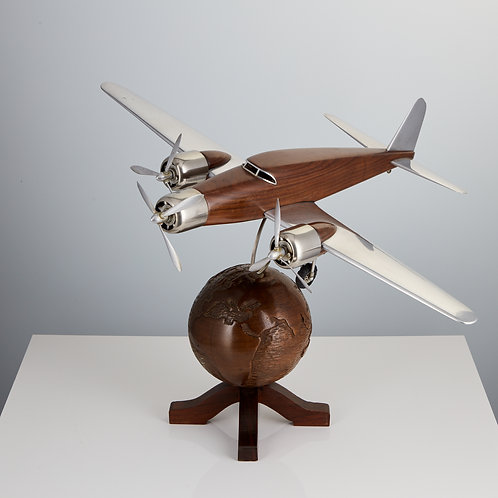 20th Century French Art Deco Model of an Aircraft Mounted on a World Globe