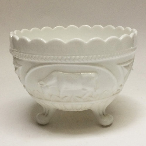 'Grazing Cows' Milk Glass Bowl