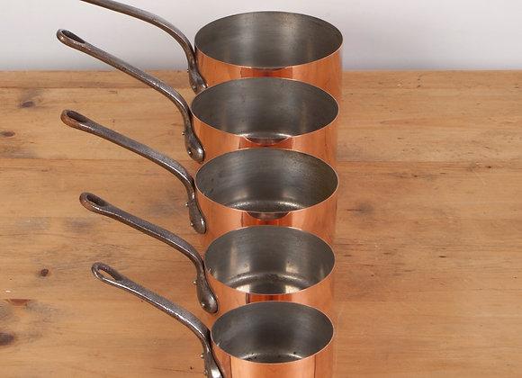Graduated Set of 5 Copper Pans