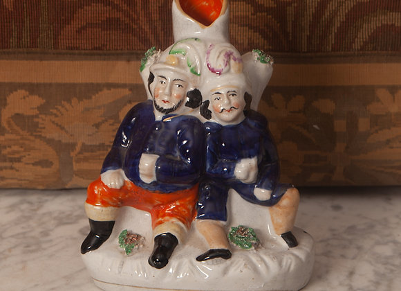 A Victorian Staffordshire Spill Holder Figure of Two Men