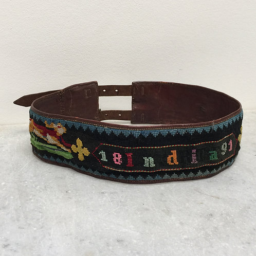 India 1891- Hand Made Tapestry And Leather Belt