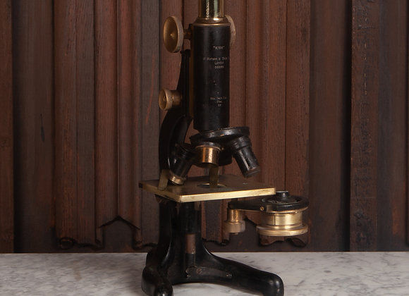 Early 20th Century Large Microscope in a Carrying Case