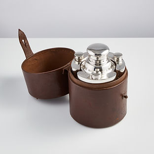 English Cocktail Set in a Leather Case, circa 1930
