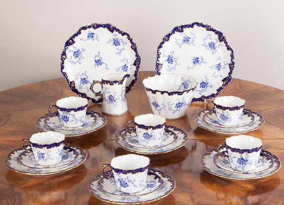 Victorian Blue and Gold Tea Service of 22 Pieces