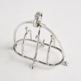 Equestrian Silver Toast or Letter Rack by Makers Walker & Hall, dated 1918