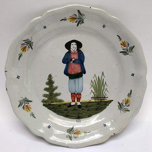 Late C19th Quimper 'Faience D'art Breton' Plate