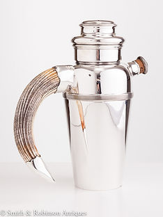Impressive 20th Century Cocktail Shaker with Wild Boar Handle