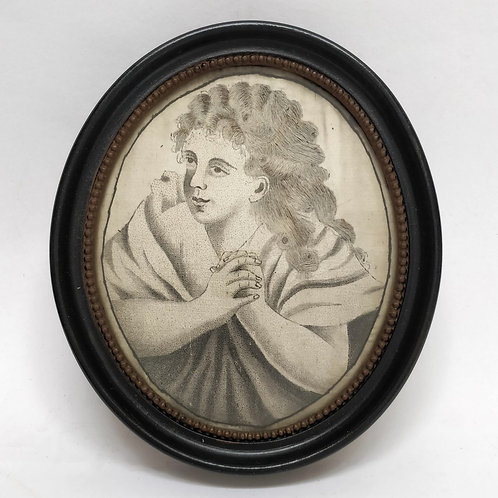 Unusual Silk Portrait Embroidered With Hair