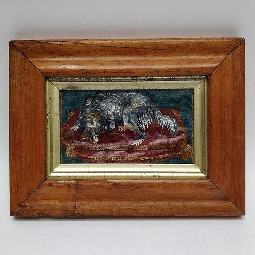 C19th Framed Beaded Dog On A 'Tasselled Cushion'