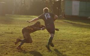 Evading a tackle...