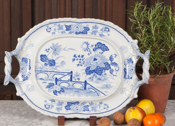 A Victorian Blue and White Two Handled Serving Plate/Platter