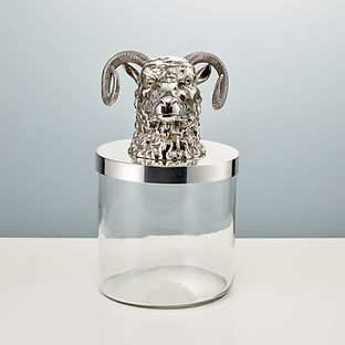 Mid 20th Century Glass Ice Bucket with Mounted Rams Head