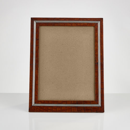 An Early 20th Century Large Crocodile Photo Frame with Applied Ribbed Boarder
