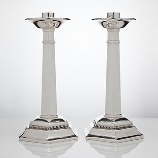 Stunning and Large Pair of Silver Candlesticks in Gothic Design, London, 1937