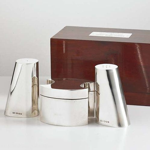Beautiful Quality Modernist Silver Cruet Set by Makers RJS, London, 1981