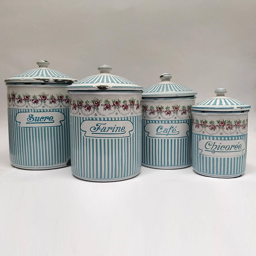 Blue & White Rose Garland Enamel Cannisters