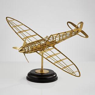 Skeletal Brass Model of a WWII Spitfire Aircraft, circa 1945-50