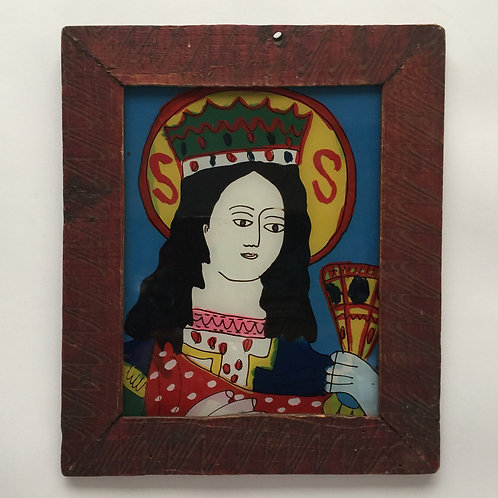 St Barbara, Naive Reverse Painting On Glass