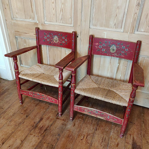 A Pair Of Lovely Painted Rustic Chairs