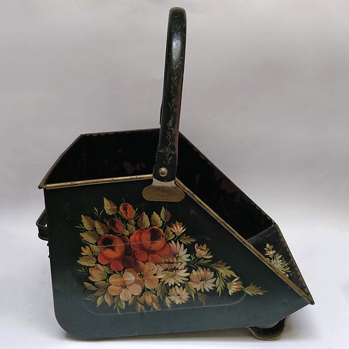 Hand Painted Toleware Coal Scuttle