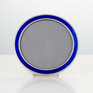 A 20th Century Art Deco Royal Blue Enamel Frame Marked Sterling Circa 1920