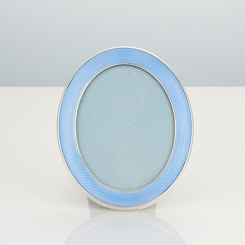 A 20th Century Antique Photo Frame in Sterling Silver and Light Blue Enamel