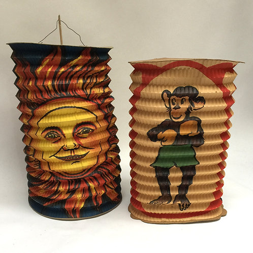 Pair Of Unusual Vintage Paper Lanterns