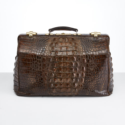 Large Early 20th Century Crocodile Gladstone Bag, circa 1910-1915