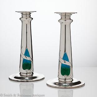 Art Nouveau Silver and Enamel Candlesticks, London, 1909