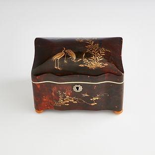 Rare Chinese Export Tortoiseshell Tea Caddy, circa 1840-1850