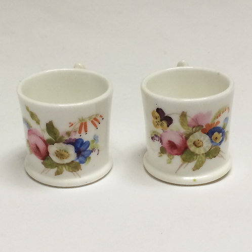 Hand Painted Pair Of Miniature Porcelain Mugs