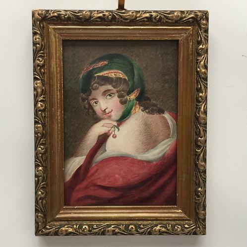 Fashionable Lady In A Turban C1810- Watercolour