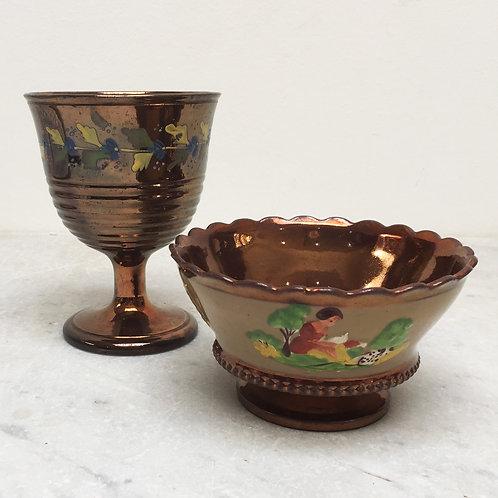 Copper Lustre Bowl And Goblet