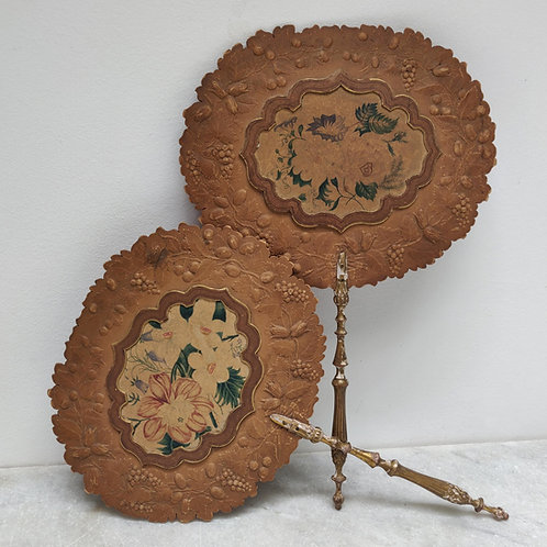 Lovely Pair Of 19th Century French Face Screens