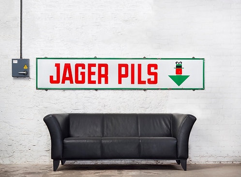 FANTASTIC, LARGE, JAGER PILS ENAMEL SIGN.