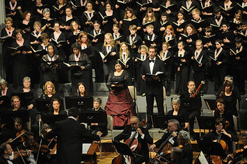 Choristers and soloists performing in the Hall