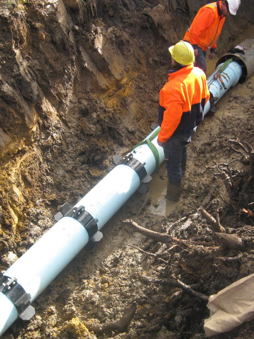 Pipe Work entering Sleeve.JPG