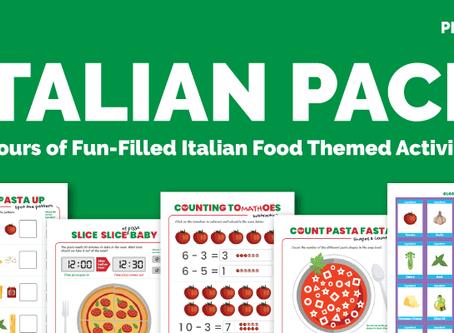 FREE Printable Italian Food Activity Pack for Preschoolers
