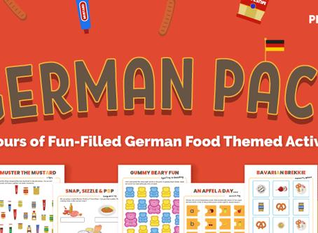 FREE German Food Printable Activity Pack for Preschoolers