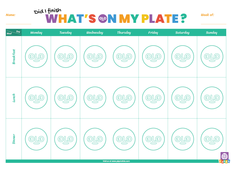 """""""Did I Finish What's On My Plate"""" Achievement Sheet"""