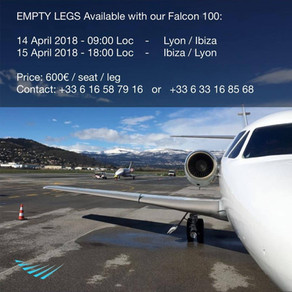 April 2018 - New empty legs available on our Falcon 10!