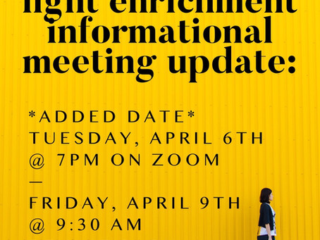 Informational Meetings for Fall 2021 Enrichment Program