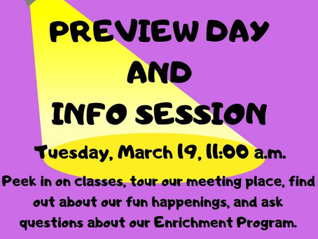 Preview and Info Day