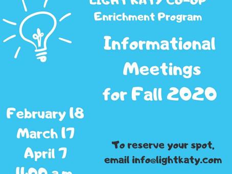 Spring 2020 Informational Meetings