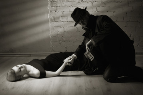 1920's Detective checks pulse of woman.