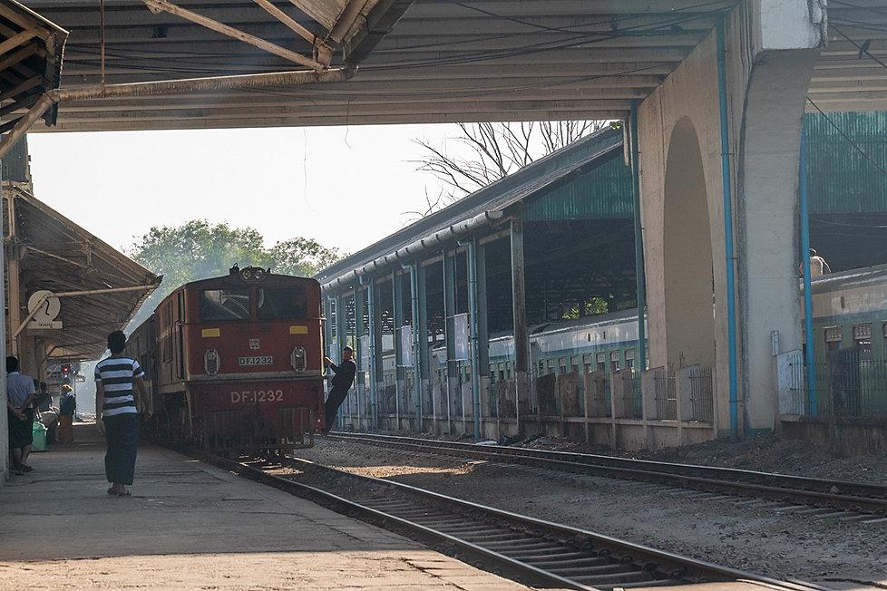 Circular train arrives in the platform