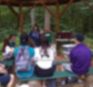 A group of young peope listening and engaging to a women speaking in the woods.
